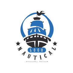 Nautical logo original design, retro badge with ship for nautical school, sport club, business identity, print products vector Illustration on a white background