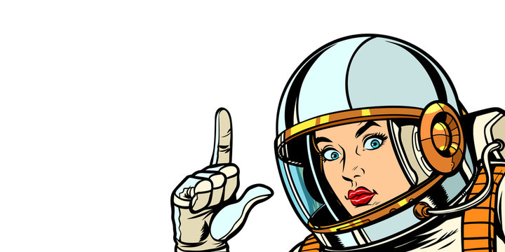 astronaut woman pointing finger up, isolate on white background