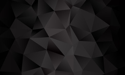 Black polygon background. Vector imitation of the 3D illustration. Pattern with triangles of different scale.