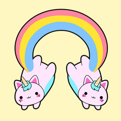 Illustration of a double cute fat pink cat with a horn and a long rainbow tail. This kawaii hybrid between feline and unicorn is full of happiness and is try to distribute equal love for all. This cat