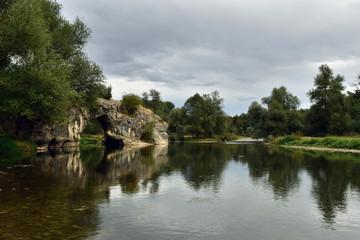 Natural rock-bridge above Vit River near Aglen Village, Bulgaria