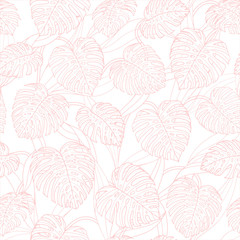 Vector tropical repeat pattern with monstera leaves outline on the white background. Backdrop design in pink pastel colors.