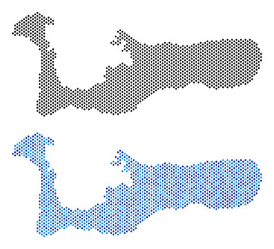 Dotted Grand Cayman Island map variants. Vector territory plans in black color and cold blue color variations. Abstract composition of Grand Cayman Island map done from sphere dot pattern.