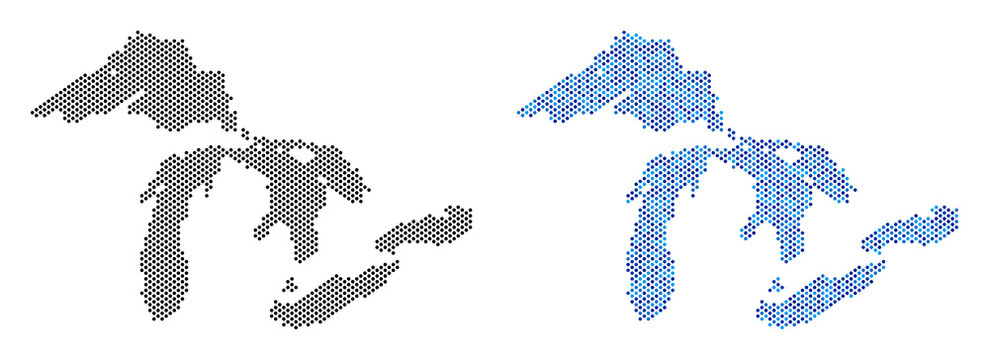 Pixelated Great Lakes map variants. Vector territory plans in black color and blue color tints. Abstract collage of Great Lakes map done from small circle dot pattern.