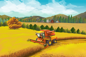 Farm, vector background. Rural landscape