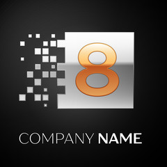 Number Eight logo symbol in the golden-silver colorful square with shattered blocks on black background. Vector template for your design