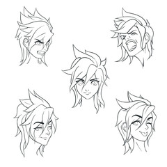 Set of emotions of a beautiful girl Angry, happy, screaming, showing tongue, smiling