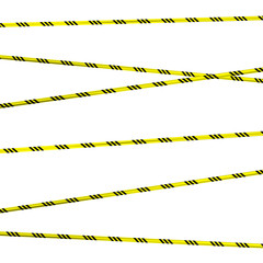 Physical hazards. Caution tape. Vector illustration. Yellow and black
