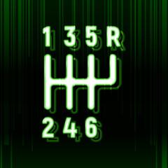 Shifter icon. Green neon light. Vector illustration. Modern technology