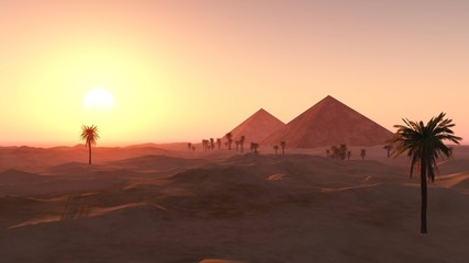 pyramids in the sandy desert, a desert with palm trees and pyramids, 3D rendering