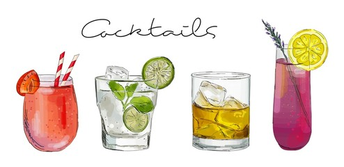 Hand drawn illustration of set of cocktails.