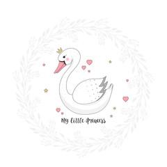 Beautiful swan cartoon with crown