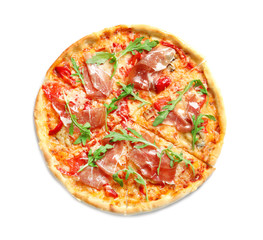 Tasty hot pizza with meat on white background