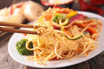chinese noodles and vegetable