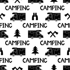 Seamless pattern with black car, ax ,fir-tree and words camping on the white background.