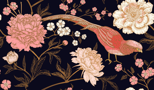 Seamless pattern with exotic bird pheasants and peony flowers.