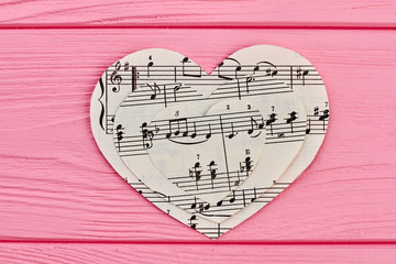 Collection of paper hearts with musical notes. Music love background.