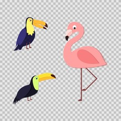 Set of tropical birds in trandy paper cut style. Craft flamingo and toucan on with shadow for package design, T-shirt printing. Vector card illustration in papercutting art style