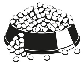 Black and white overfilled pet food bowl silhouette