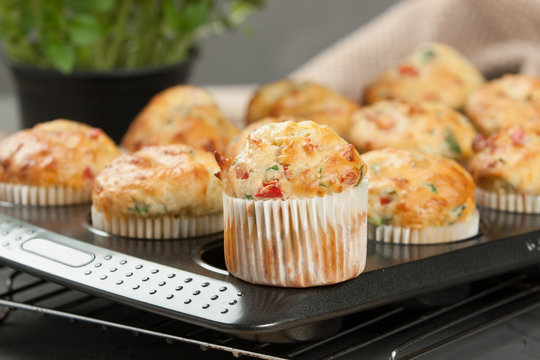 Home Baked Cheese And Vegetables Muffins With Pepper, Spinach, Sweetcorn, Mature Gouda.