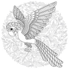 Vector fantasy stylized cockatoo jungle parrot silhouette.