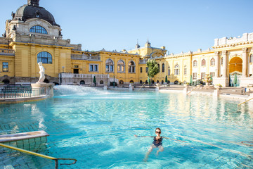 Canvas Prints Budapest Woman relaxing at the famous Szechenyi thermal bathes in Budapest, Hungary