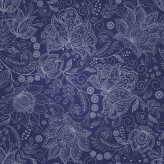 abstract dark blue floral backgrond