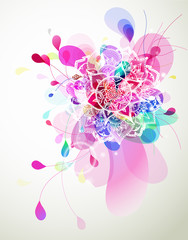 Abstract colored flower background with circles and mandala.