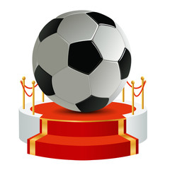 foot - football - concept - podium - ballon de foot - victoire - gloire - gagner - gagnant - symbole