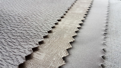 Close up sample fabric for interior design, material selection.