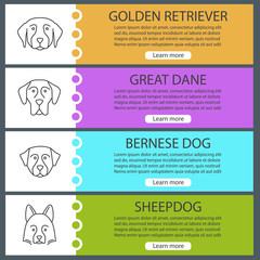 Dogs breeds web banner templates set