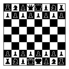 Chessboard and chess pieces line figures icon black color illustration flat style simple image