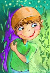Chłopiec -boy leśny ludek