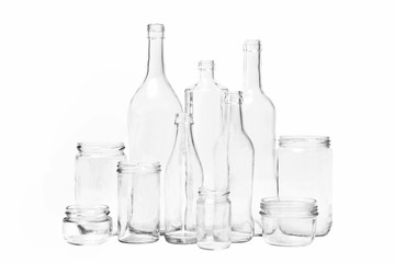 glass bottles on white background
