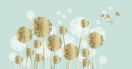 Abstract white and gold summer dandelion motif