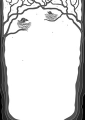 Portrait frame with silhouettes of trees and birds in nests. Vector graphics. Background for book cover or card