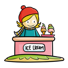 Cute and funny girl doing business in winter selling ice cream - vector.
