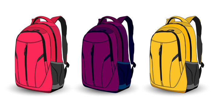 Set of multi-colored school backpacks on a white background