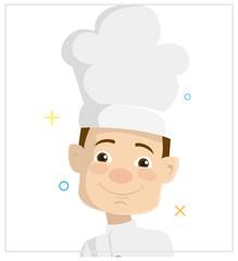 Cartoon Chef face Flat Vector Illustration Design