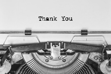 thank you, the text is typed on a Vintage typewriter. old paper, close-up. Thanks