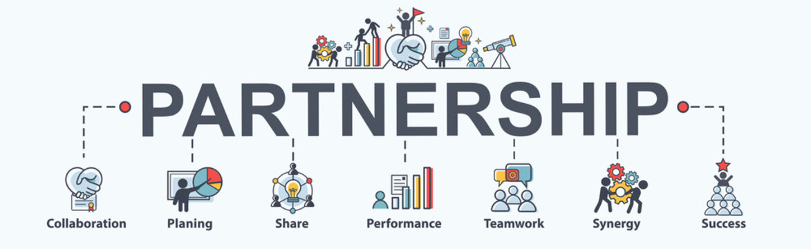 Partnership banner web icon for business consult, collabarate, teamwork, shares idea, performance, brainstorm and success. Minimal vector infographic.