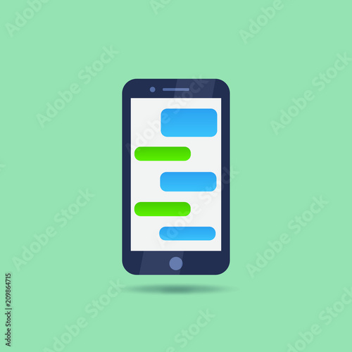 Flat style mobile phone with messaging interface bubbles for chat or