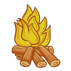 Cute and funny bonfire for camping - vector.