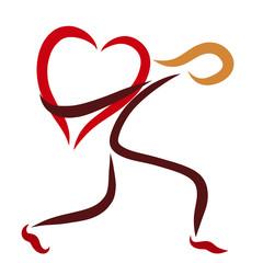 a man carrying a big heart, a logo