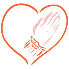 Hands folded in prayer, framed in the shape of a heart