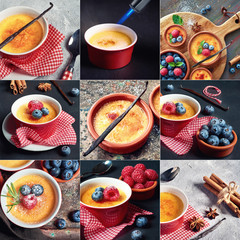 Creme brulee (cream brulee, burnt cream)  with raspberries and blueberries, set of pictures