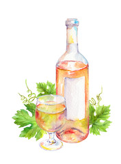 Wine glass, bottle with pink or white wine with vine leaves. Watercolor