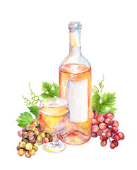Wine glass, bottle of pink wine with vine leaves and grape berries. Watercolor