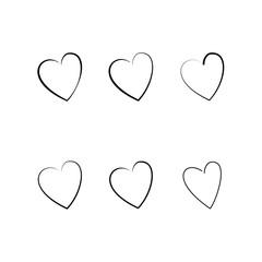 Heart black sillouette set