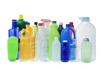 set of plastico botellas in white fondo